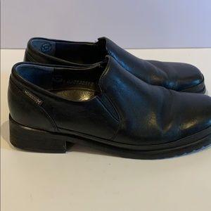 MEPHISTO Black Leather Elastic Side Panel Slip On